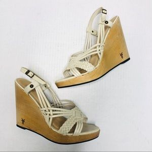 Frye Leather Woven Slingback Wooden Wedge